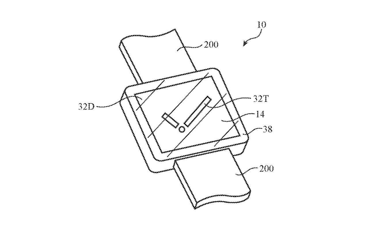 Detalle de la patente que muestra cómo se puede mostrar una esfera de reloj