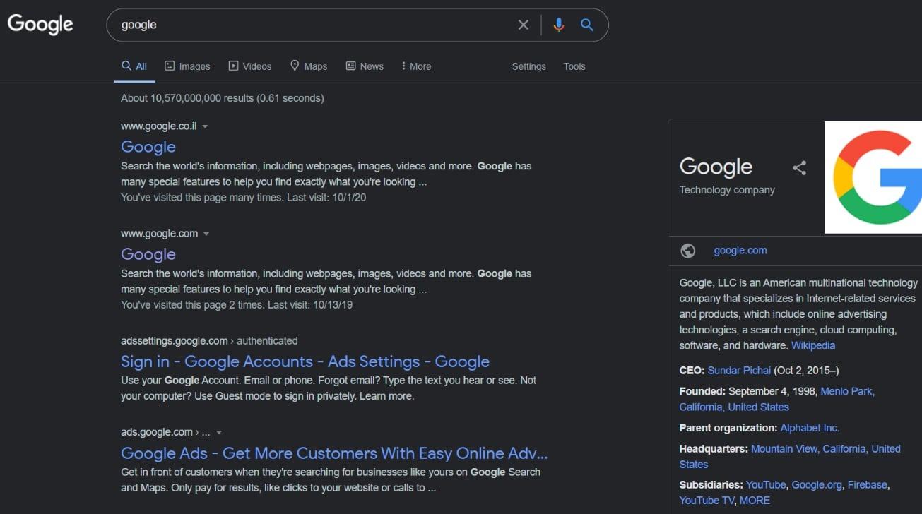 Prueba del modo oscuro de búsqueda de Google en Chrome en Windows [Reddit u/Pixel3aXL]