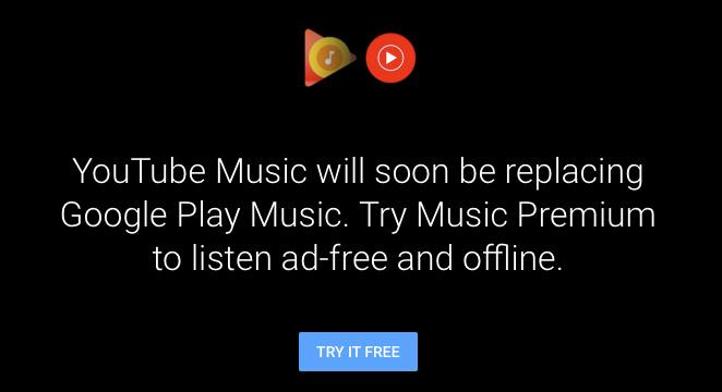 Los nuevos usuarios que intentan suscribirse a Google Play Music serán redirigidos a YouTube Música