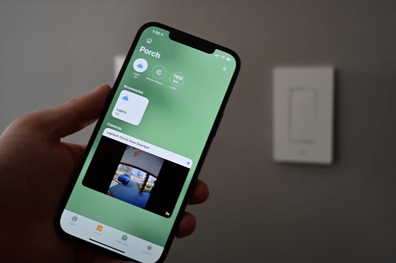 Un timbre con video HomeKit en la aplicación Home