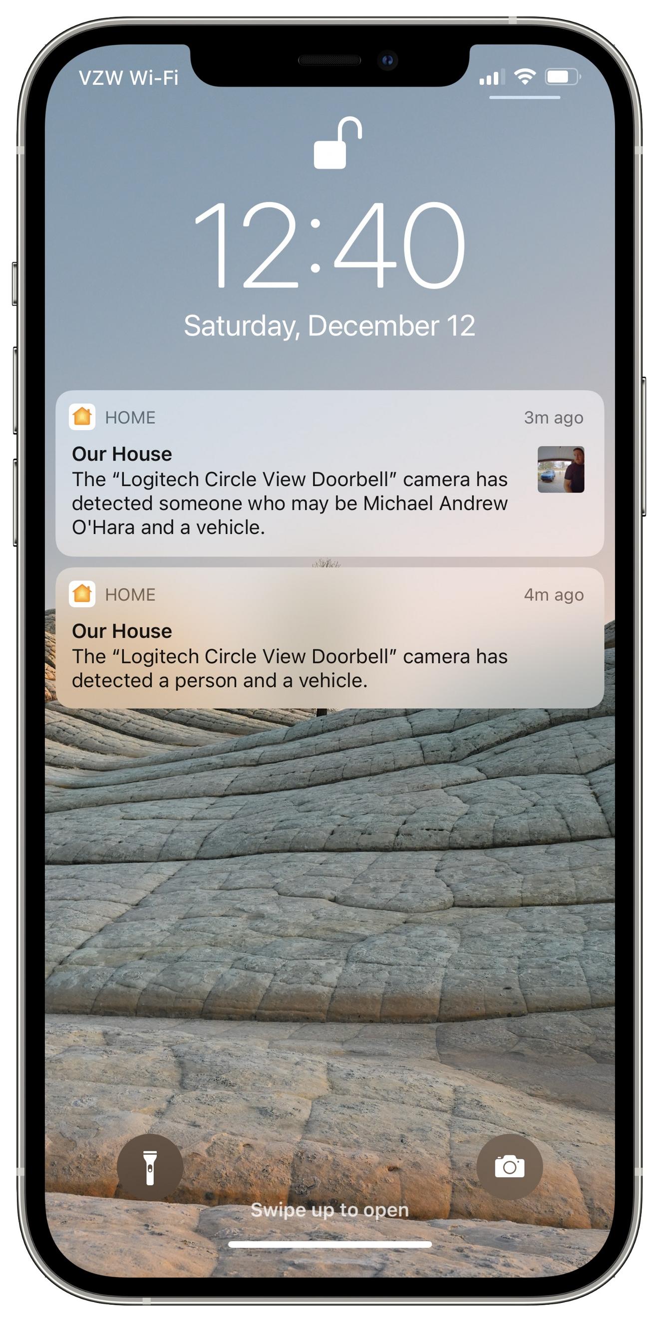 Alertas de un timbre de video seguro HomeKit