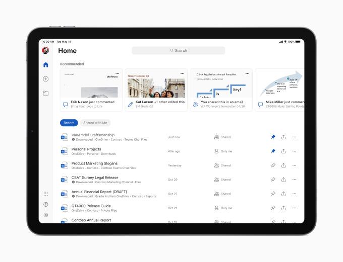 Pantalla de inicio de Microsoft Word en un iPad Air