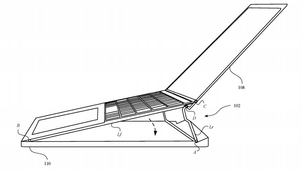 El mecanismo de bisagra podría elevar toda la superficie superior de la MacBook a un mejor ángulo de escritura.