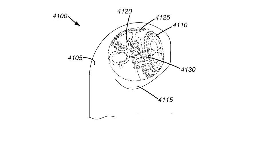 Detalle de la patente que ilustra cómo se pueden ajustar los circuitos a la forma del auricular