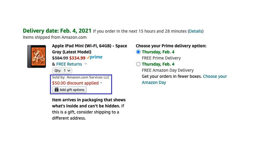 Amazon  Captura de pantalla de iPad mini deal