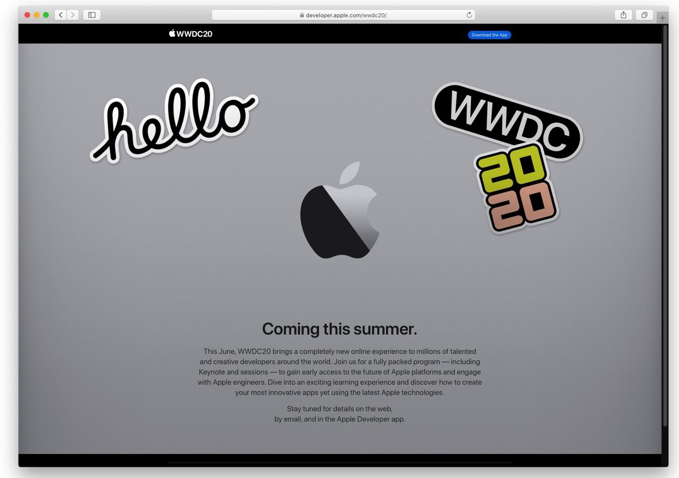Toda la página de la WWDC 2020, a marzo 13, 2020