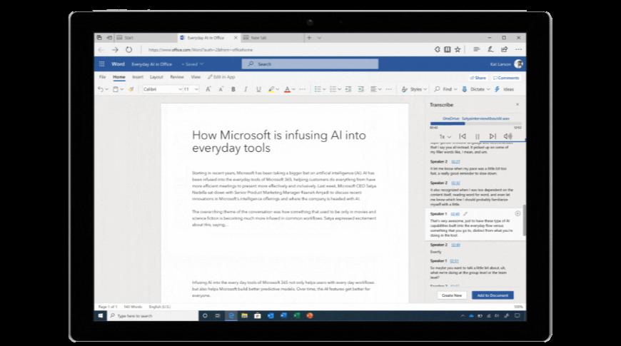 Transcripción en Microsoft Word