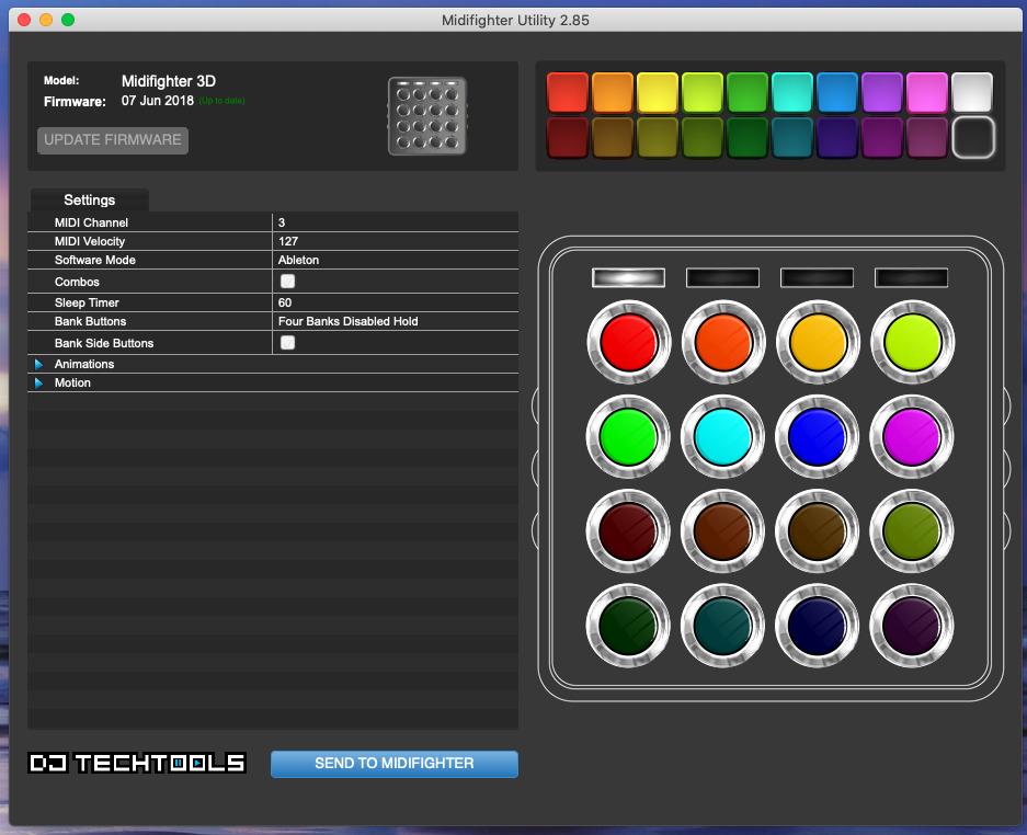 Los LED se pueden configurar para mostrar varios colores a través de una utilidad de software incluida con Midi Fighter 3D