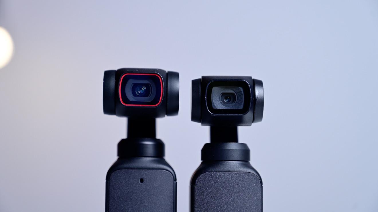 DJI bolsillo 2 lente y sensor más grande (izquierda) en comparación con DJI Osmo Pocket (derecha)