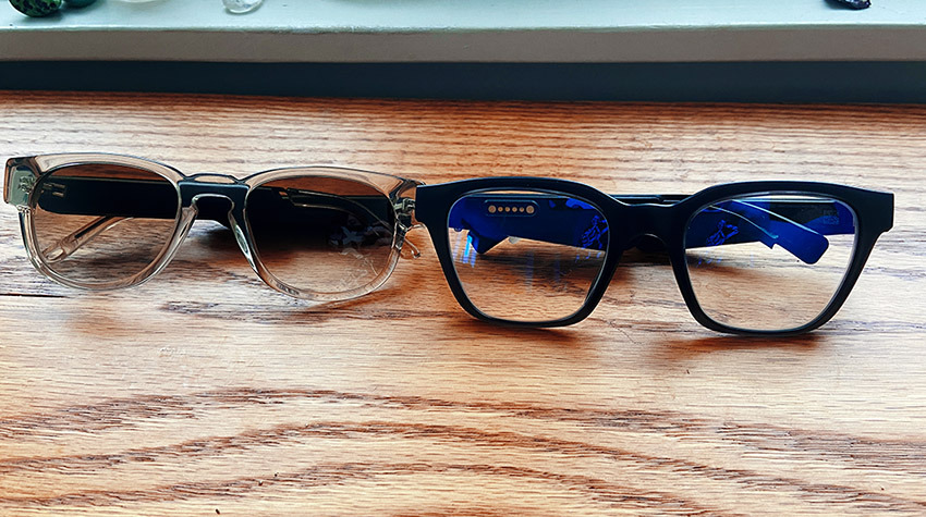 En comparación con Bose Frames (derecha), Fauna (izquierda) es notablemente más pequeña en todos los aspectos.