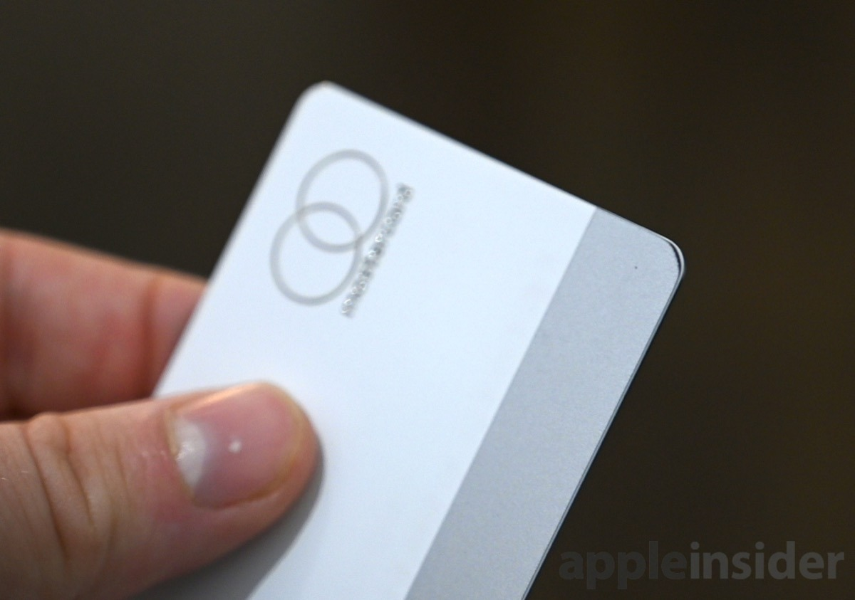 La banda magnética de Apple Tarjeta usando en las esquinas