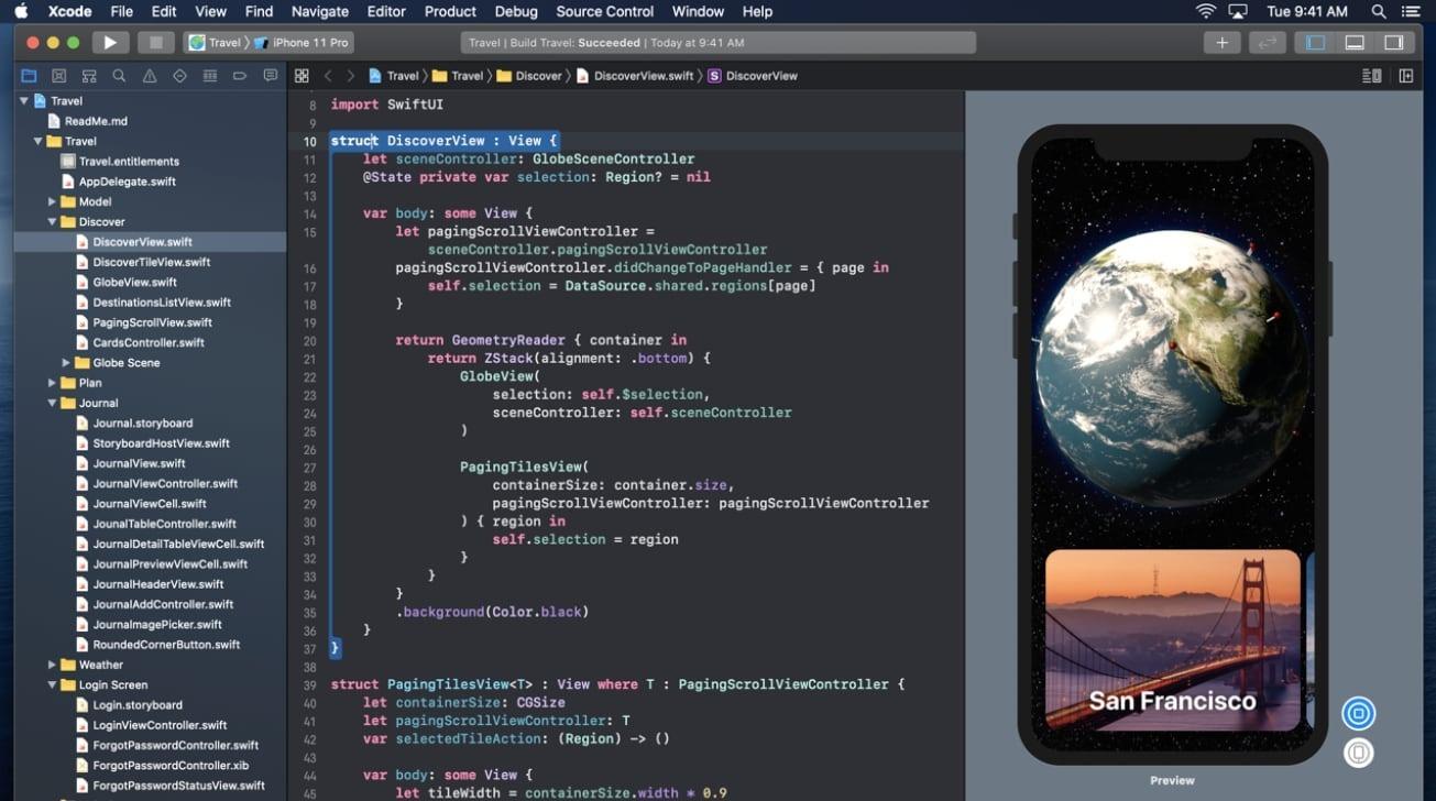 Si eres un desarrollador, algo como esto ahora está grabado en tu retina: es la pantalla principal del software de desarrollo de aplicaciones Xcode.