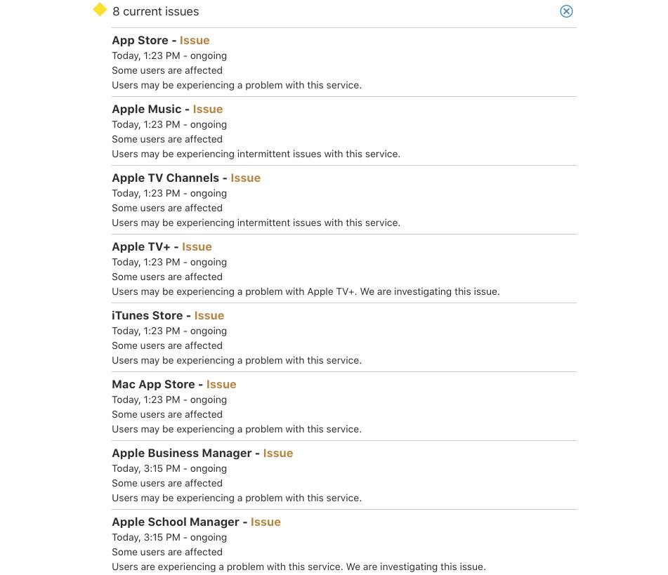 La lista de cuestiones en el Apple Página de estado del sistema, a partir de las 4 p.m. BST.