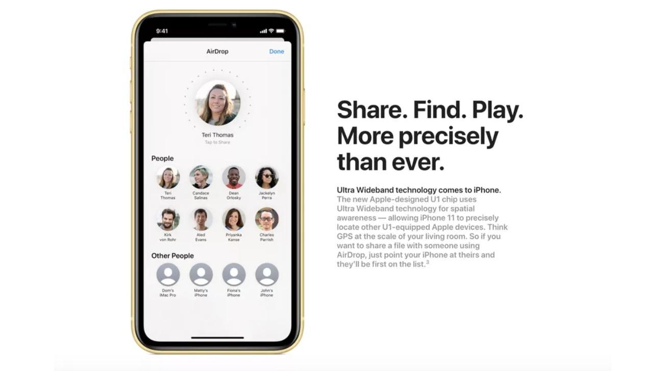 AppleiPhone de 11 página del producto que detalla la inclusión del chip U1 en 2019.
