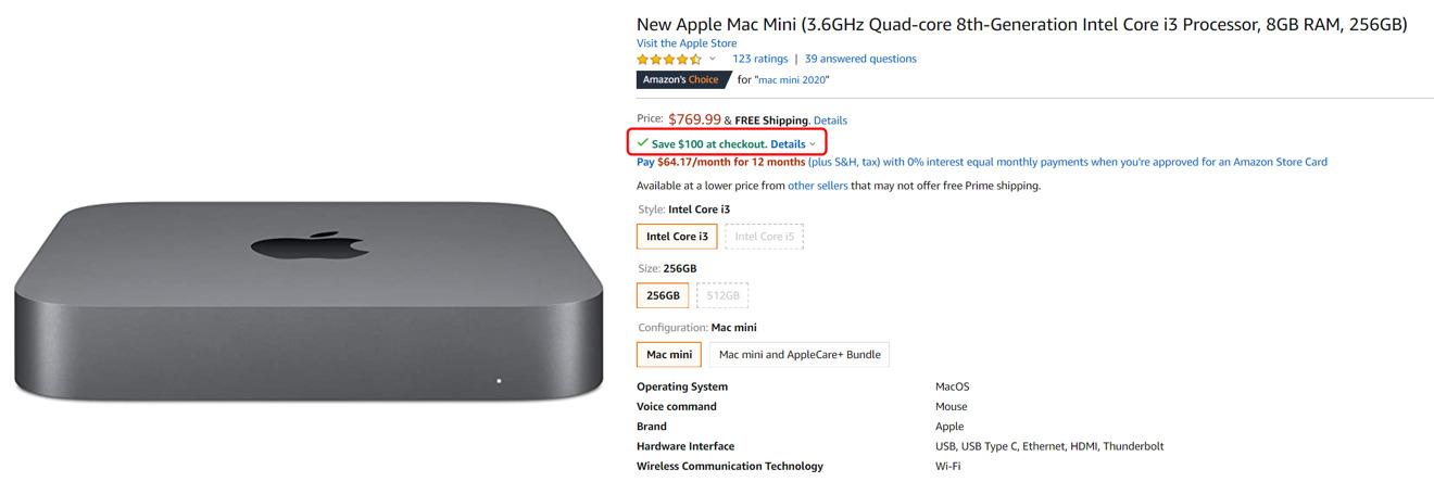 Amazon  Ahorros de bonificación de Mac mini