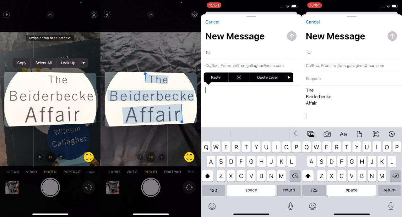 Live Text saca el texto de la imagen, lo que le permite copiarlo y luego pegarlo en otras aplicaciones como texto escrito que incluso se deletrea
