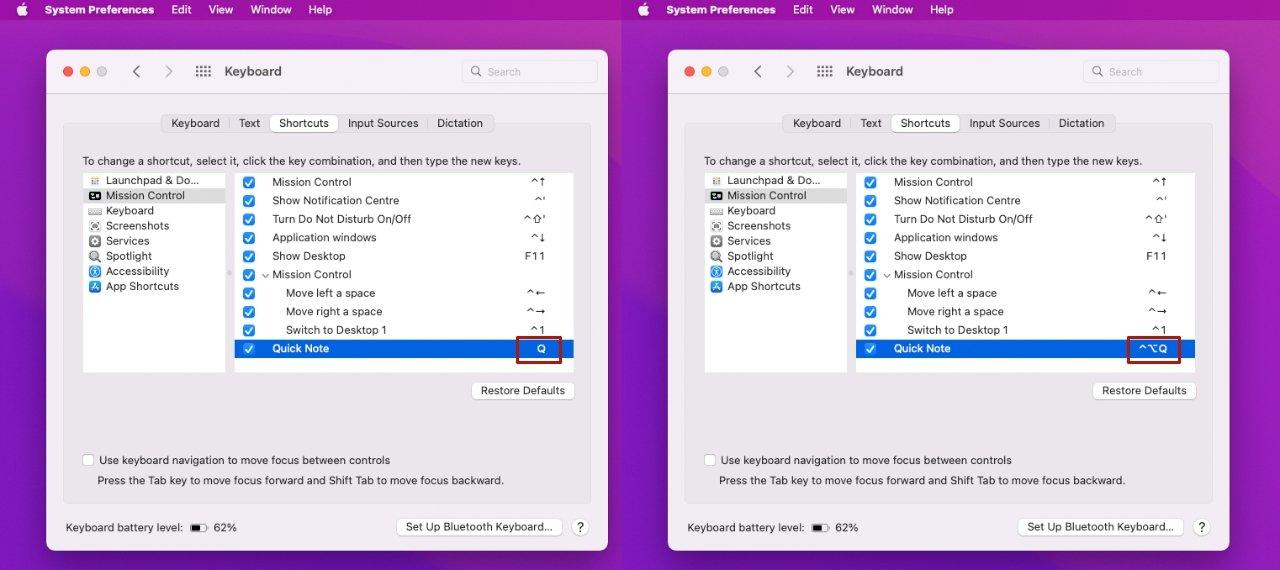 Puede configurar su propia pulsación de tecla para acceder a Quick Notes, y si está en una Mac de escritorio, realmente debería