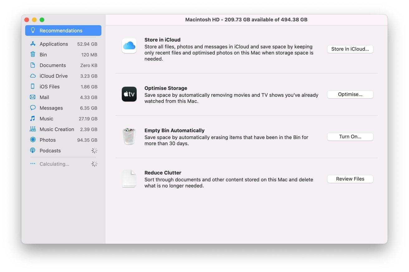 La pantalla estándar que verá en la herramienta Optimizar almacenamiento.