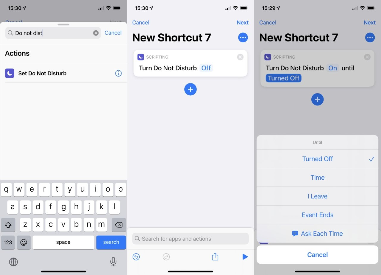 Cuando los accesos directos lleguen a la Mac, podrá configurar formas rápidas de activar y desactivar No molestar, como puede hacerlo aquí en iOS.