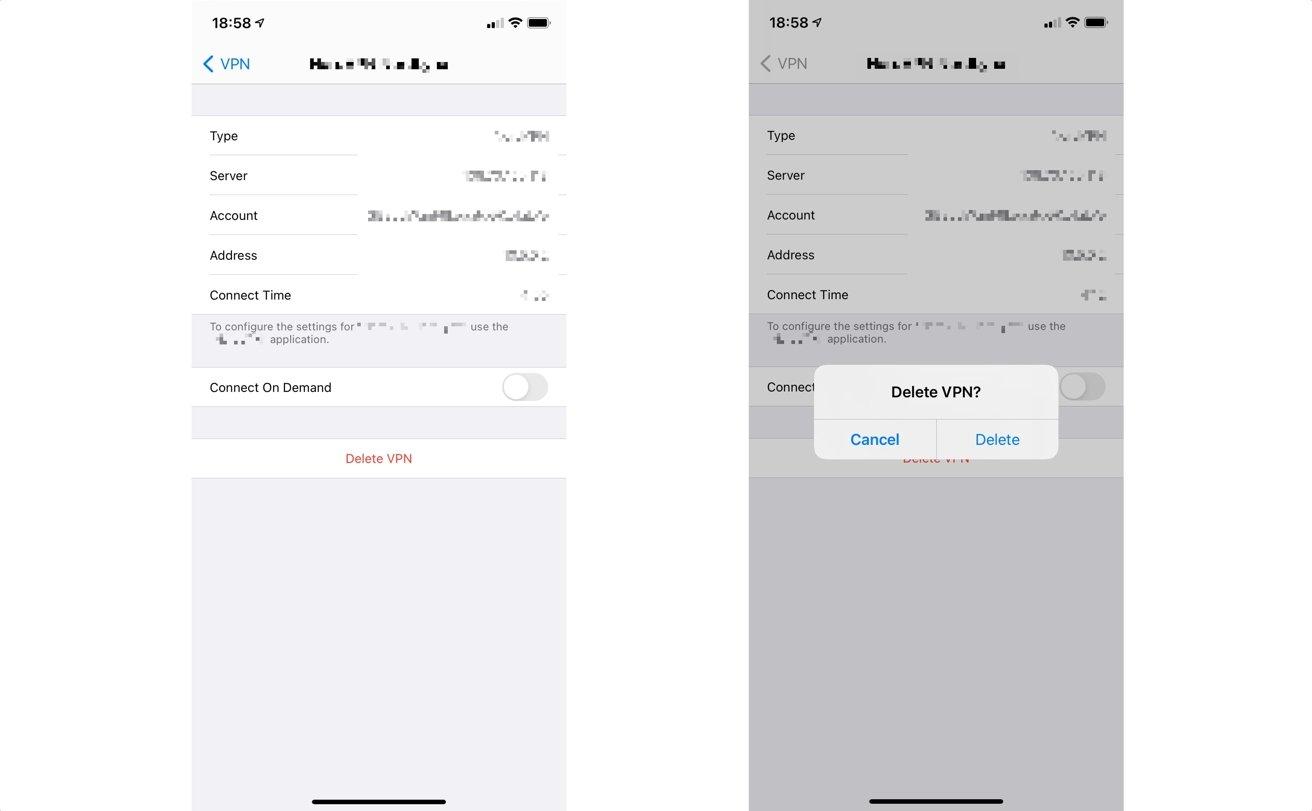 La misma pantalla que muestra detalles sobre la conexión VPN también se puede utilizar para eliminar el perfil de su dispositivo.