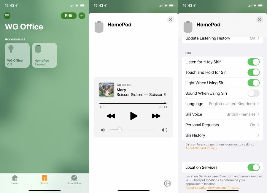 En la aplicación Inicio, busque la habitación correcta, presione el mosaico del HomePod y luego toque el engranaje de configuración en la parte inferior derecha