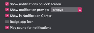 Preferencias de notificación