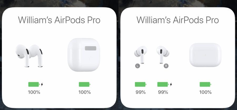 Con solo abrir el estuche cerca de su iPhone, obtendrá la información de la izquierda.  Saque un AirPod y obtendrá más detalles.