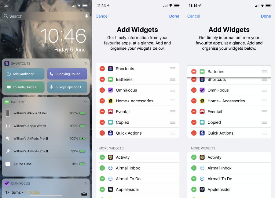El Centro de notificaciones puede incluir un widget de baterías (izquierda).  Puede agregarlo (medio) o arrastrar para reorganizarlo (derecha)