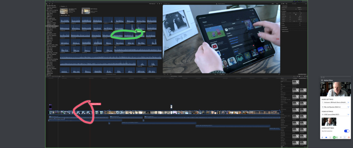 Todos los usuarios de una reunión de pantalla pueden resaltar las pantallas de los demás.  Aquí una persona está marcando un punto en una línea de tiempo de Final Cut Pro X (en rojo) mientras que otra está recomendando un clip para usar a continuación (verde)