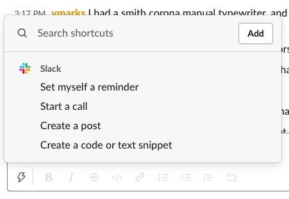 Nuevas opciones de atajos de Slack.