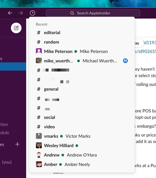 El historial de Slack proporciona una lista de las conversaciones recientes en las que ha participado un usuario.