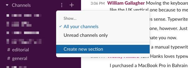 Hacer clic en los tres puntos te permitirá crear una nueva sección en la barra lateral de Slack.
