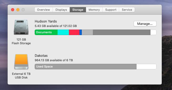 Es una pena que no lo haga para todas sus unidades, pero es muy útil que macOS descomponga el almacenamiento en su unidad de arranque.