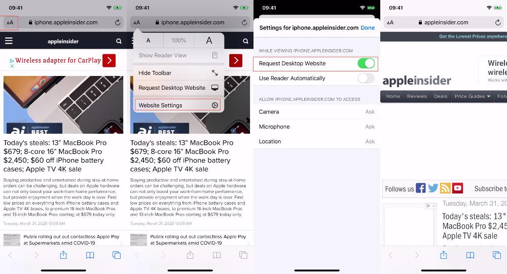 LR cómo decirle a Safari en iOS que siempre muestre la versión de escritorio del sitio seleccionado actualmente