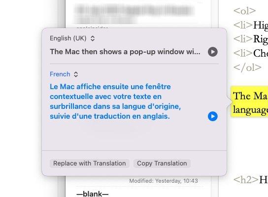 Simplemente resalte un texto, luego haga clic con el botón derecho y elija traducir